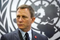 Actor Daniel Craig listens to speakers at a service designating him as the UN Global Advocate for the Elimination of  Mines and Explosive Hazards at the United Nations Headquarters in New York April 14, 2015. REUTERS/Lucas Jackson
