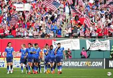Apr 4, 2015; St. Louis, MO, USA; United States celebrate a goal during the second half against New Zealand at Busch Stadium. United States defeated New Zealand 4-0.  Jeff Curry-USA TODAY Sports