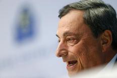 Presidente do Banco Central Europeu, Mario Draghi, em entrevista coletiva em Frankfurt. 15/04/2015 REUTERS/Ralph Orlowski