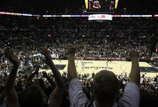 San Antonio Spurs fans celebrate during the game against the Miami Heat in game five of the 2014 NBA Finals at AT&T Center. Mandatory Credit: Soobum Im-USA TODAY Sports