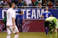Apr 15, 2015; San Antonio, TX, USA; USA forward Jordan Morris (8) celebrates after scoring a goal against Mexico during the second half at Alamodome. Soobum Im-USA TODAY Sports