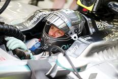 Nico Rosberg of Mercedes in his garage during practice Mandatory Credit: Action Images / Hoch Zwei