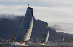 Yachts participating in the 2014-15 Volvo Ocean Race set sail before Cape Town's iconic Table Mountain at the start of the second leg of the race, in this file photo taken on November 19, 2014.  REUTERS/Mike Hutchings