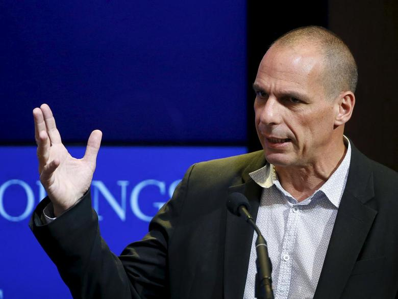 Greek Finance Minister Yanis Varoufakis speaks at the Brookings Institution in Washington April 16, 2015.    REUTERS/Gary Cameron