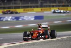 Ferrari Formula One Driver Kimi Raikkonen drives during Bahrain's F1 Grand Prix at Bahrain International Circuit, south of Manama, April 19, 2015. REUTERS/Hamad I Mohammed