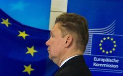Глава Газпрома Алексей Миллер перед началом газовых переговоров РФ, Украины и ЕС в Берлине. 26 сентября 2014 года. Газпром отверг обвинения в нарушении конкуренции в Евросоюзе после того, как Еврокомиссия объявила в среду, что российский газовый гигант препятствовал трансграничной конкуренции в Восточной и Центральной Европе, завышая цены в ряде государств. REUTERS/Thomas Peter
