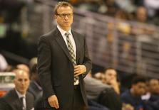 Oct 8, 2014; Denver, CO, USA; Oklahoma City Thunder head coach Scott Brooks during the second half against the Denver Nuggets at Pepsi Center. The Nuggets won 114-101.  Chris Humphreys-USA TODAY Sports