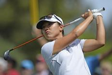Lydia Ko tees off on the fifth hole during the second round of the ANA Inspiration at Mission Hills CC - Dinah Shore Tournament Course; Apr 3, 2015; Rancho Mirage, CA, USA;  Jake Roth-USA TODAY Sports