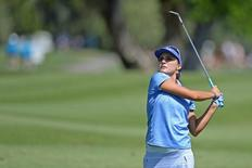 Apr 5, 2015; Rancho Mirage, CA, USA; Lexi Thompson hits her second shot on the first hole during the final round of the ANA Inspiration at Mission Hills CC - Dinah Shore Tournament Course. Mandatory Credit: Jake Roth-USA TODAY Sports