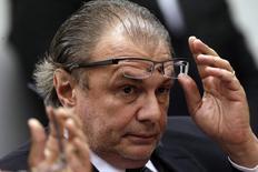 Ex-gerente de Seviços da Petrobras Pedro Barusco durante depoimento em CPI em Brasília 10/05/2015. REUTERS/Ueslei Marcelino