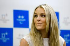 U.S. skier Lindsey Vonn reacts as she is asked about her relationship with golfer Tiger Woods during a news conference in Seoul, May 6, 2015.  REUTERS/Thomas Peter