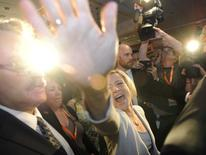 Alberta NDP leader Rachel Notley reacts to election results in Edmonton May 5, 2015.  REUTERS/Dan Riedlhuber