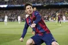 Messi, do Barcelona, comemora gol marcado contra o Bayern de Munique no Camp Nou. 06/05/2015. REUTERS/Gustau Nacarino