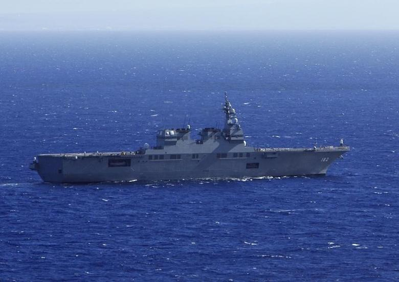 The Japan Maritime Self-Defense Force (JMSDF) ship JS ISE sails, south of Oahu, in a Humanitarian Assistance and Disaster Relief drill during the multi-national military exercise RIMPAC in Honolulu, Hawaii, July 12, 2014. REUTERS/Hugh Gentry