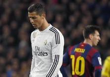 Cristiano Ronaldo e Lionel Messi durante partida da Liga Espanhola.   22/03/2015       REUTERS/Paul Hanna