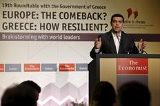 "Greek Prime Minister Alexis Tsipras delivers a speech during the Economist Conference on ""Europe: The comeback, Greece: How resilient?"" in Athens May 15, 2015. REUTERS/Alkis Konstantinidis"