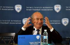 FIFA president Sepp Blatter gestures during a joint news conference with Ofer Eini (not pictured), chairman of the Israel Football Association, in Jerusalem May 19, 2015. REUTERS/Ammar Awad