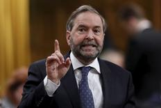 New Democratic Party leader Thomas Mulcair speaks during Question Period in the House of Commons on Parliament Hill in Ottawa May 12, 2015. REUTERS/Chris Wattie