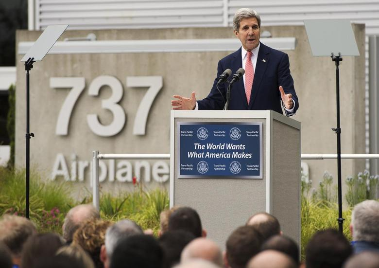 U.S. Secretary of State John Kerry speaks about the Trans-Pacific Partnership (TPP) during a trade speech at Boeing's 737 airplane factory in Renton, Washington, United States May 19, 2015. REUTERS/Saul Loeb/Pool