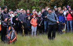 USA's Rickie Fowler plays out of the rough during the first round at The Royal County Down Golf Club, Newcastle, County Down, Northern Ireland on 28/5/15; Paul Childs