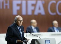 Presidente da Fifa, Joseph Blatter, durante Congresso da Fifa, em Zurique.  29/05/2015   REUTERS/Arnd Wiegmann