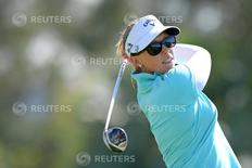 Apr 4, 2015; Rancho Mirage, CA, USA; Morgan Pressel tees off on the sixth hole during the third round of the ANA Inspiration at Mission Hills CC - Dinah Shore Tournament Course. Mandatory Credit: Jake Roth-USA TODAY Sports