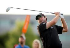 May 30, 2015; Irving, TX, USA; Steven Bowditch tees off on the 16th hole during the third round of the AT&T Byron Nelson Championship at TPC Four Seasons Resort - Las Colinas. Erich Schlegel-USA TODAY Sports