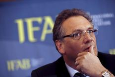 FIFA secretary general Jerome Valcke takes part in the Annual General Meeting (AGM) of the International Football Association Board (IFAB) being held in the Culloden Hotel near Belfast, Northern Ireland, in this February 28, 2015 file photo.  REUTERS/Cathal McNaughton/Files