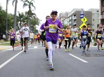 Harriette Thompson, 92, runs in the Rock 'n' Roll Marathon in San Diego, California, in this May 31, 2015 handout photo. Thompson, who is from North Carolina and is a two-time cancer survivor, has become the oldest female in the world to complete a marathon with a run in San Diego, organizers of the event said. REUTERS/Ryan Bethke/Competitors Group/Handout