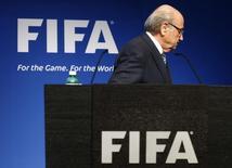 Presidente da Fifa, Joseph Blatter, após entrevista coletiva na sede da entidade. 02/06/2015  REUTERS/Ruben Sprich