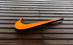 The logo of Nike is seen in a storefront in Sao Paulo May 28, 2015.  REUTERS/Paulo Whitaker