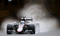 McLaren Formula One driver Fernando Alonso of Spain drives his car during the first free practice session at the Monaco F1 Grand Prix May 21, 2015. REUTERS/Stefano Rellandini