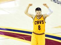 Jun 9, 2015; Cleveland, OH, USA; Cleveland Cavaliers guard Matthew Dellavedova (8) reacts during the fourth quarter of game three of the NBA Finals against the Golden State Warriors at Quicken Loans Arena. Cleveland won 96-91. Mandatory Credit: David Richard-USA TODAY Sports