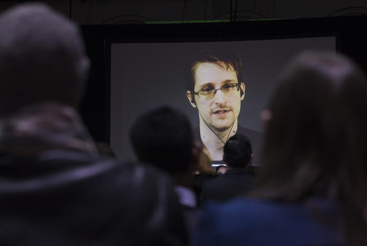 Former U.S. National Security Agency contractor Edward Snowden appears live via video during a student organized world affairs conference at the Upper Canada College private high school in Toronto, February 2, 2015. REUTERS/Mark Blinch/Files