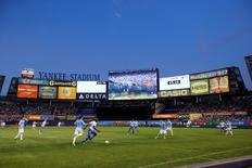 Jun 13, 2015; New York, NY, USA;  General view of the game between the New York City FC and the Montreal Impact at Yankee Stadium. New York City FC won 3-1. Mandatory Credit: Anthony Gruppuso-USA TODAY Sports