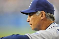 July 12, 2014; Los Angeles, CA, USA; San Diego Padres manager Bud Black (20) watches game action during the first inning against the Los Angeles Dodgers at Dodger Stadium. Mandatory Credit: Gary A. Vasquez-USA TODAY Sports