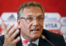 FIFA Secretary General Jerome Valcke speaks as he attends a news conference during his visit to the southern city of Samara, one of the 2018 World Cup host cities, Russia, June 10, 2015.  REUTERS/Maxim Zmeyev