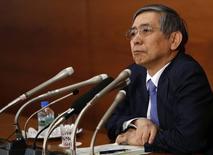 Presidente do banco central do Japão, Haruhiko Kuroda, durante entrevista coletiva em Tóquio.   17/03/2015   REUTERS/Yuya Shino