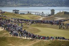 Jun 21, 2015; University Place, WA, USA; Jordan Spieth hits his tee shot on the 3rd hole in the final round of the 2015 U.S. Open golf tournament at Chambers Bay. Mandatory Credit: John David Mercer-USA TODAY Sports