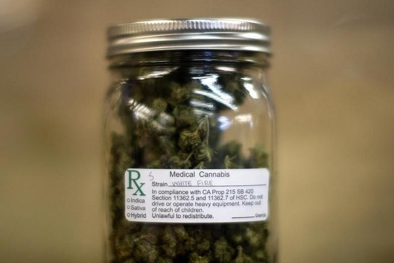 A jar of medical marijuana is displayed at the medical marijuana farmers market at the California Heritage Market in Los Angeles, California July 11, 2014. REUTERS/David McNew