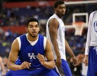 Apr 3, 2015; Indianapolis, IN, USA; Kentucky Wildcats forward Karl-Anthony Towns (12) during practice for the 2015 NCAA Men's Division I Championship semi-final game at Lucas Oil Stadium. Mandatory Credit: Robert Deutsch-USA TODAY Sports