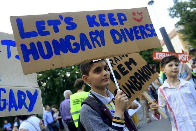 A boy attends a protest against Hungarian Prime Minister Viktor Orban's immigration policy proposals in central Budapest, Hungary, May 19, 2015.  REUTERS/Bernadett Szabo/Files