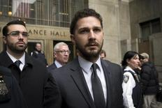 Actor Shia LaBeouf exits the Manhattan Criminal Courthouse following an appearance in New York, March 20, 2015. REUTERS/Brendan McDermid