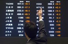 Un hombre apunta a los índices de mercado en la Bolsa de Tokio, 11 de junio de 2015. Las bolsas de Asia bajaban el jueves y el dólar se debilitaba por la inquietud de los inversores antes de una reunión de líderes de la Unión Europea más adelante en el día, en momentos en que Grecia continua los esfuerzos de último minuto para evitar una moratoria. REUTERS/Thomas Peter