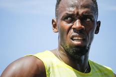 Velocista Usain Bolt, da Jamaica, após vencer a prova dos 200 metros na Liga de Diamante, em Nova York. 13/06/2015 REUTERS/Eduardo Munoz