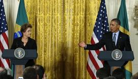 Presidentes Dilma e Obama na Casa Branca. 30/06/2015 REUTERS/Kevin Lamarque