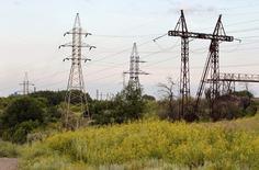 Линии электропередачи близ Константиновки, Украина 24 июня 2012 года.  Россия согласилась с повышением Украиной цены на поставки электроэнергии в Крым на 14,4 процента, подписав дополнительное соглашение. REUTERS/Vasily Fedosenko