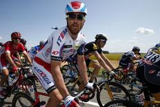 Katusha rider Luca Paolini of Italy cycles during the 191.5-km (118.9 miles) 6th stage of the 102nd Tour de France cycling race from Abbeville to Le Havre, France, July 9, 2015. REUTERS/Benoit Tessier