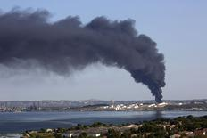 Fumaça provocada por incêndio em petroquímica LyondellBasell, na França. 14/07/2015 REUTERS/Philippe Laurenson