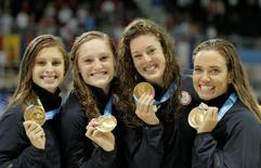 Katie Meili , Kelsi Worrell , Allison Schmitt and Natalie Coughlin of the United States celebrate after winning the women's swimming 4x100m medley relay final during the 2015 Pan Am Games at Pan Am Aquatics UTS Centre and Field House. Erich Schlegel-USA TODAY Sports